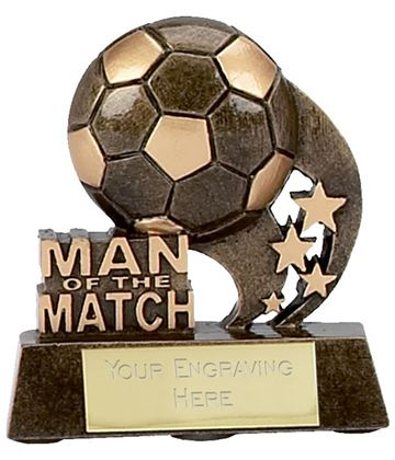 "Man of the Match Ball and Stars Football Trophy 8cm (3.25"")"