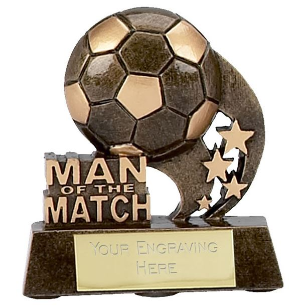 """Man of the Match Ball and Stars Football Trophy 8cm (3.25"""")"""