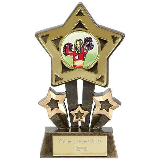 "Multi Award Mini Star Medal Trophy Gold 10.5cm (4.25"")"