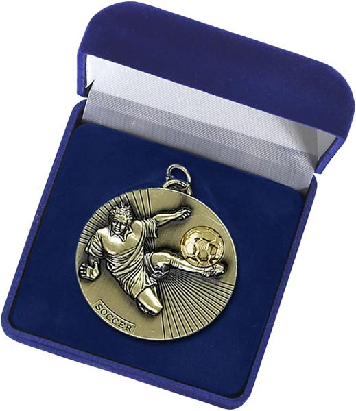 Blue Velvet Silk Lined Medal Box 60mm Recess