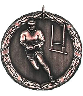 "Bronze Laurel Rugby Medal 50mm (2"")"