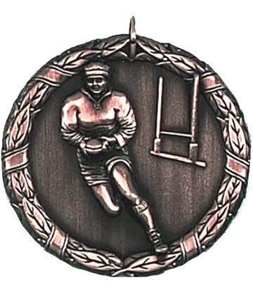 """Bronze Laurel Rugby Medal 50mm (2"""")"""