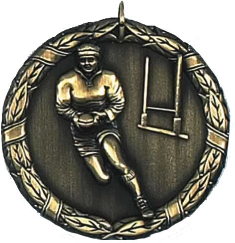 "Gold Laurel Rugby Medal 50mm (2"")"