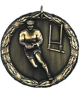 """Gold Laurel Rugby Medal 50mm (2"""")"""