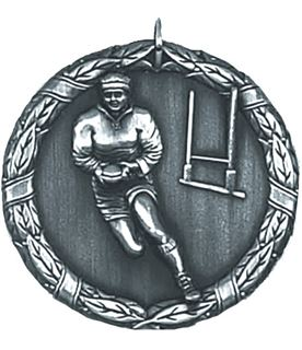 "Silver Laurel Rugby Medal 50mm (2"")"