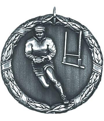 "Silver Laurel Rugby Medal 50mm (2"")"