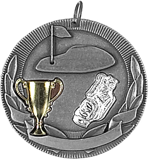 "Silver Golf Barrel Medal 50mm (2"")"