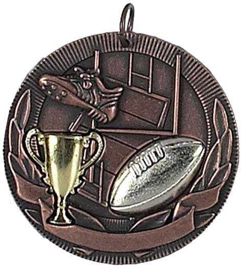 """Bronze Rugby Barrel Medal 50mm (2"""")"""