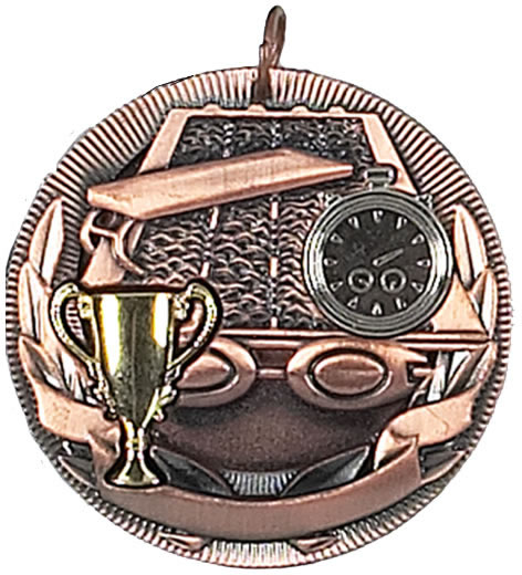 "Bronze Swimming Barrel Medal 50mm (2"")"