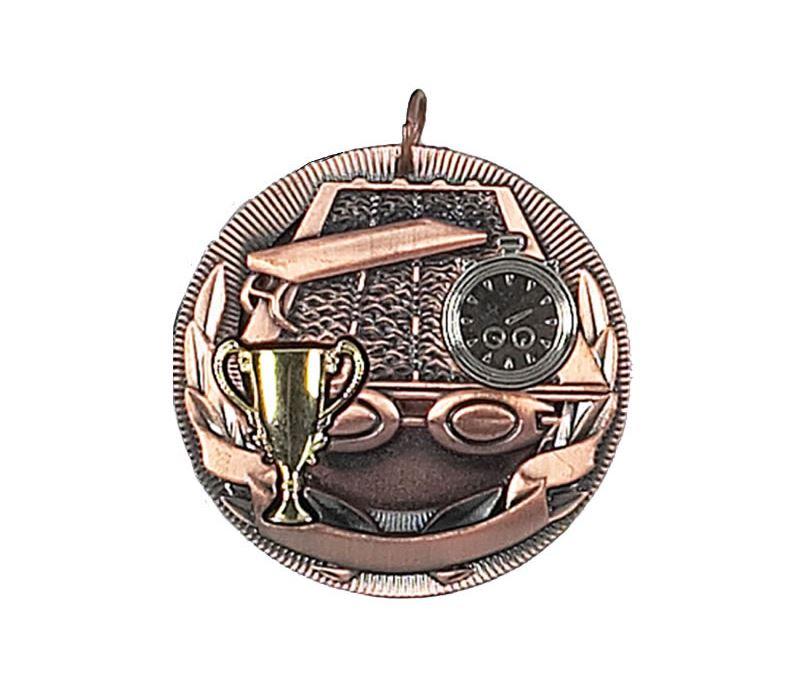 "Bronze Swimming Barrel Medal 50mm (2"")"