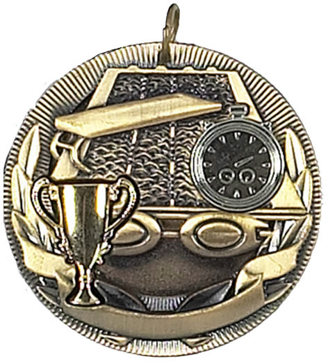 "Gold Swimming Barrel Medal 50mm (2"")"