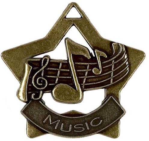 """Bronze Music Mini Star Medal 60mm (2.25"""")"""