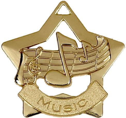 """Gold Music Mini Star Medal 60mm (2.25"""")"""
