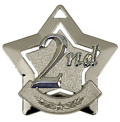 "2nd Place Mini Star Medal 60mm (2.25"")"