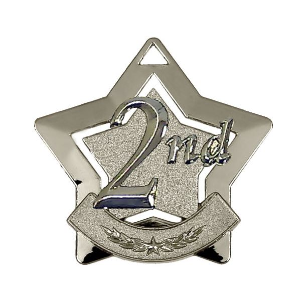 """2nd Place Mini Star Medal 60mm (2.25"""")"""
