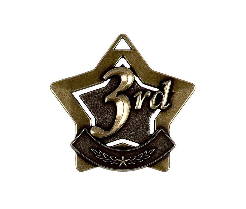 "3rd Place Mini Star Medal 60mm (2.25"")"