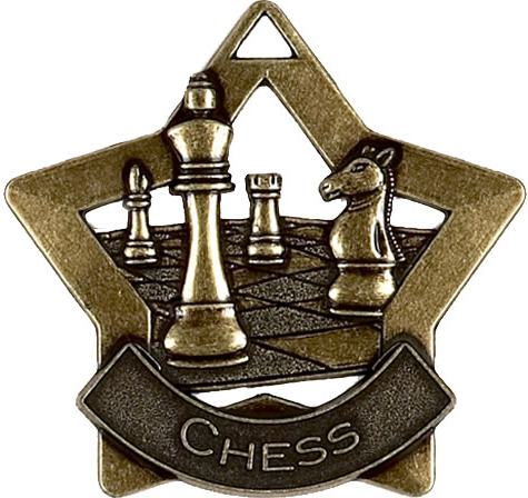"Bronze Chess Mini Star Medal 60mm (2.25"")"