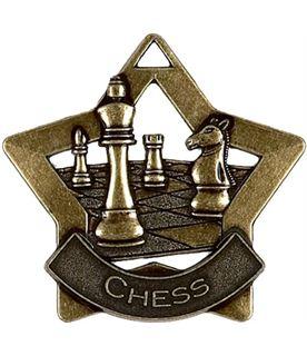 "Bronze Chess Mini Star Medal 60mm (2.25"")"