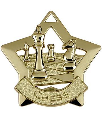 "Gold Chess Mini Star Medal 60mm (2.25"")"
