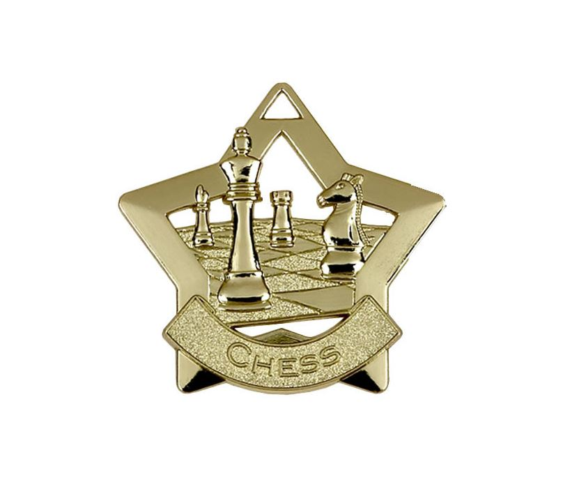 "Gold Chess Mini Star Medal 60mm (2.25"")"