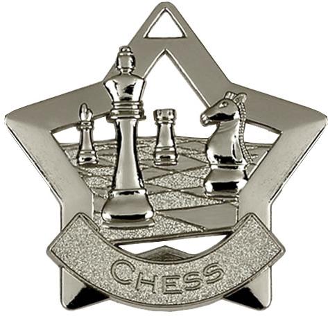 "Silver Chess Mini Star Medal 60mm (2.25"")"
