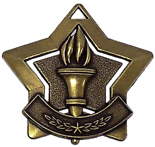 "Bronze Victory Mini Stars Medal 60mm (2.25"")"