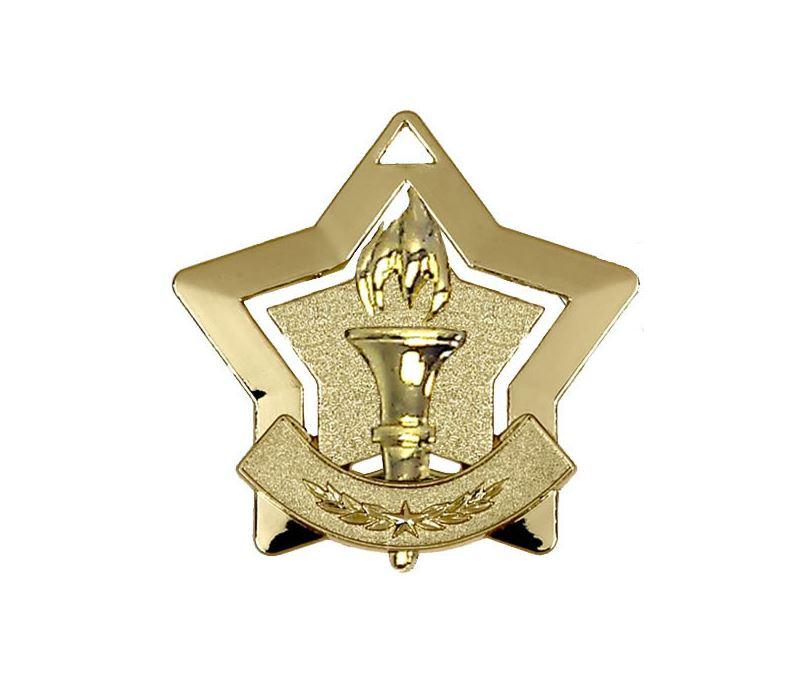 "Gold Victory Mini Stars Medal 60mm (2.25"")"