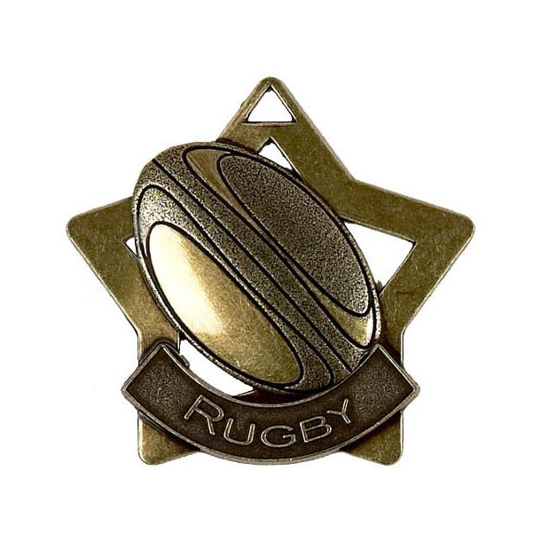 """Bronze Rugby Mini Star Medal 60mm (2.25"""")"""