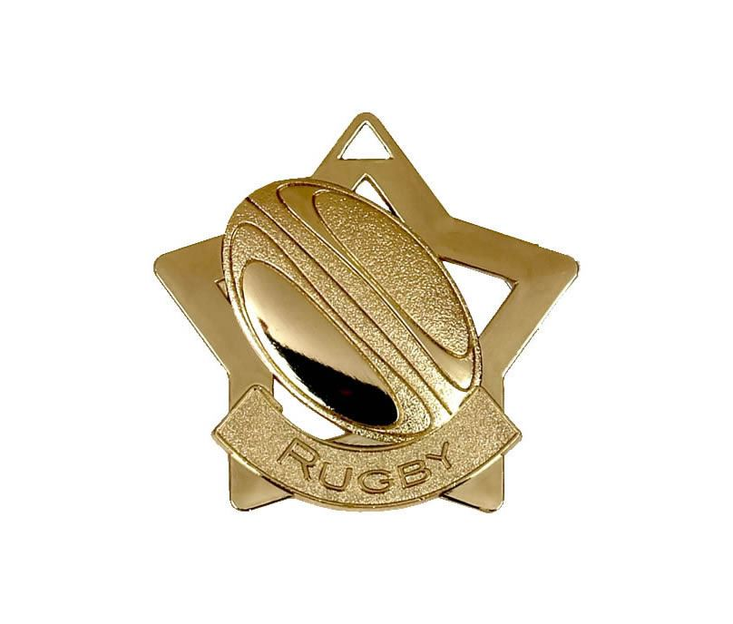 "Gold Rugby Mini Star Medal 60mm (2.25"")"