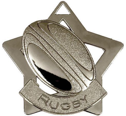 "Silver Rugby Mini Star Medal 60mm (2.25"")"