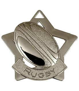 """Silver Rugby Mini Star Medal 60mm (2.25"""")"""