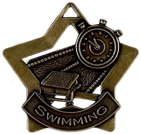 """Bronze Swimming Mini Star Medal 60mm (2.25"""")"""