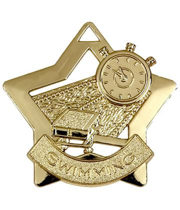 "Gold Swimming Mini Star Medal 60mm (2.25"")"