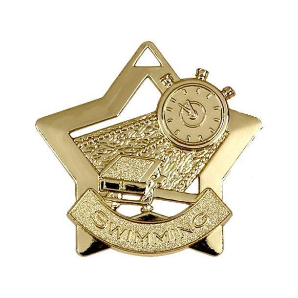 """Gold Swimming Mini Star Medal 60mm (2.25"""")"""