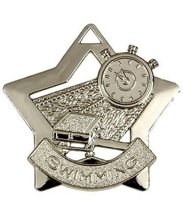 "Silver Swimming Mini Star Medal 60mm (2.25"")"