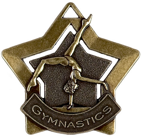 "Bronze Gymnastics Mini Star Medal 60mm (2.25"")"