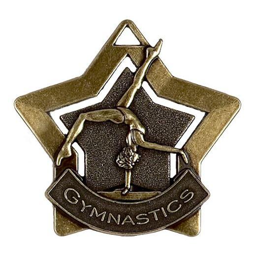 "Bronze Gymnastics Mini Star Medal 60mm (2.25"")"