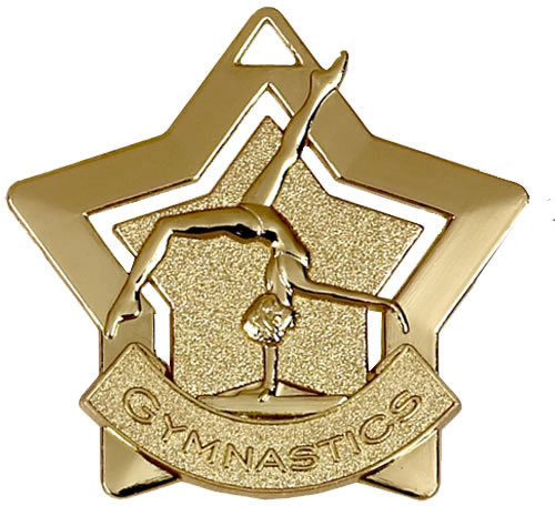 "Gold Gymnastics Mini Star Medal 60mm (2.25"")"