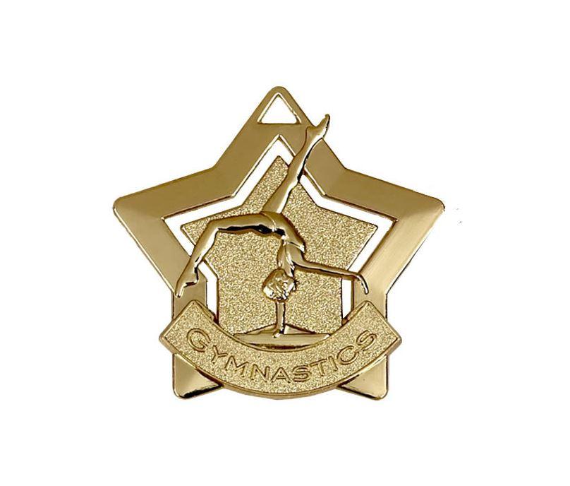 "Gold Gymnastics Mini Star Medal 60mm (2.25"")"