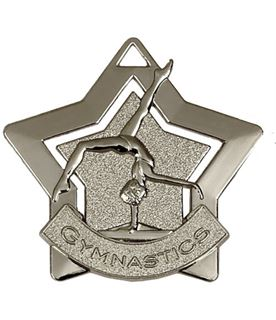 "Silver Gymnastics Mini Star Medal 60mm (2.25"")"