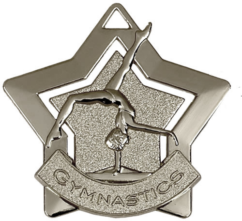 "Silver Gymnastics Mini Star Medal 60mm (2.25"")"