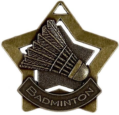 "Bronze Badminton Mini Star Medal 60mm (2.25"")"