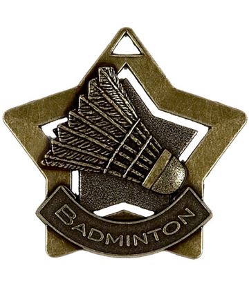 "Bronze Badminton Mini Star Medal 60mm (2.25"")"