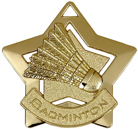 "Gold Badminton Mini Star Medal 60mm (2.25"")"