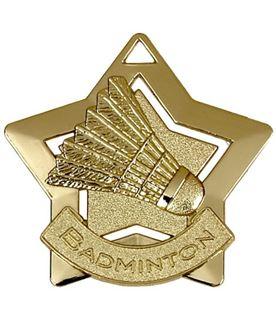 "Gold Badminton Mini Star Medal 60mm (2.25"")"