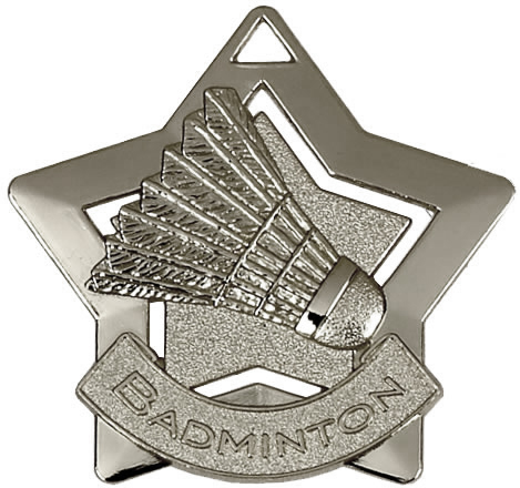 "Silver Badminton Mini Star Medal 60mm (2.25"")"