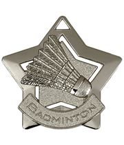 "Silver Badminton Mini Star Medal 60mm (2.25"")"