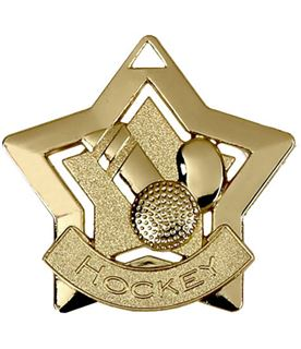 "Gold Hockey Mini Star Medal 60mm (2.25"")"