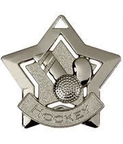"Silver Hockey Mini Star Medal 60mm (2.25"")"