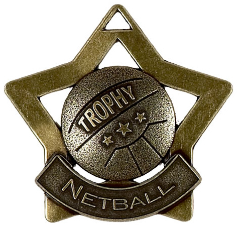 "Bronze Netball Mini Star Medal 60mm (2.25"")"